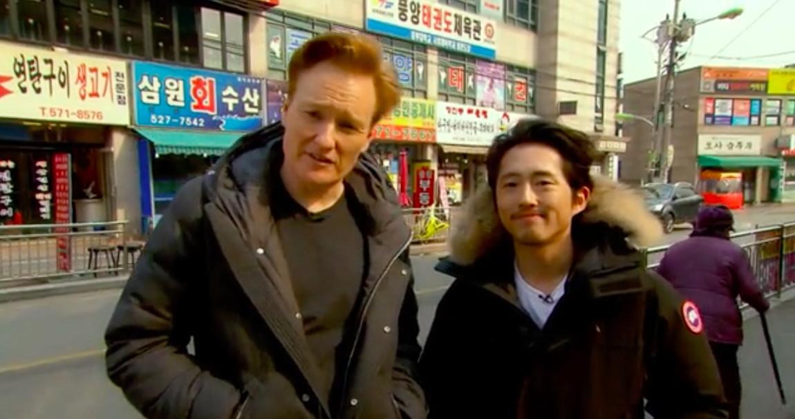 """Steven Yeun Totally Fails as a Tour Guide on """"The Conan Show"""""""