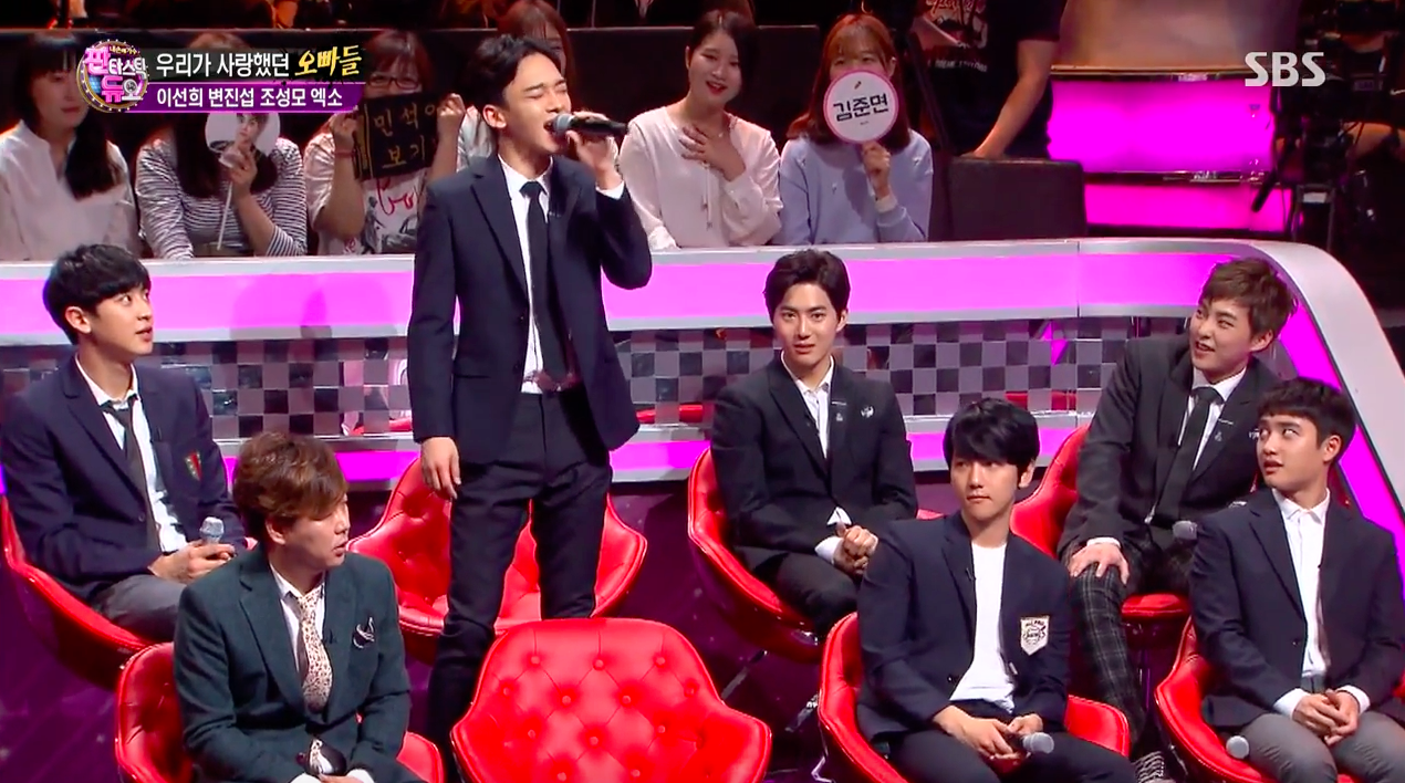 "Watch: EXO's Xiumin And Chen Try To Hit Challenging High Note On ""Fantastic Duo"""