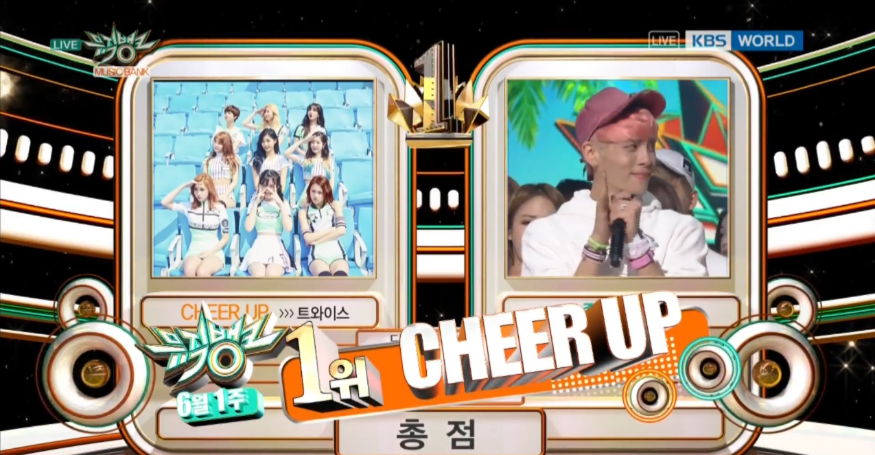 "Watch: TWICE Gets 10th Win With ""Cheer Up,"" Performances From EXID, FIESTAR, KNK, And More On ""Music Bank"""