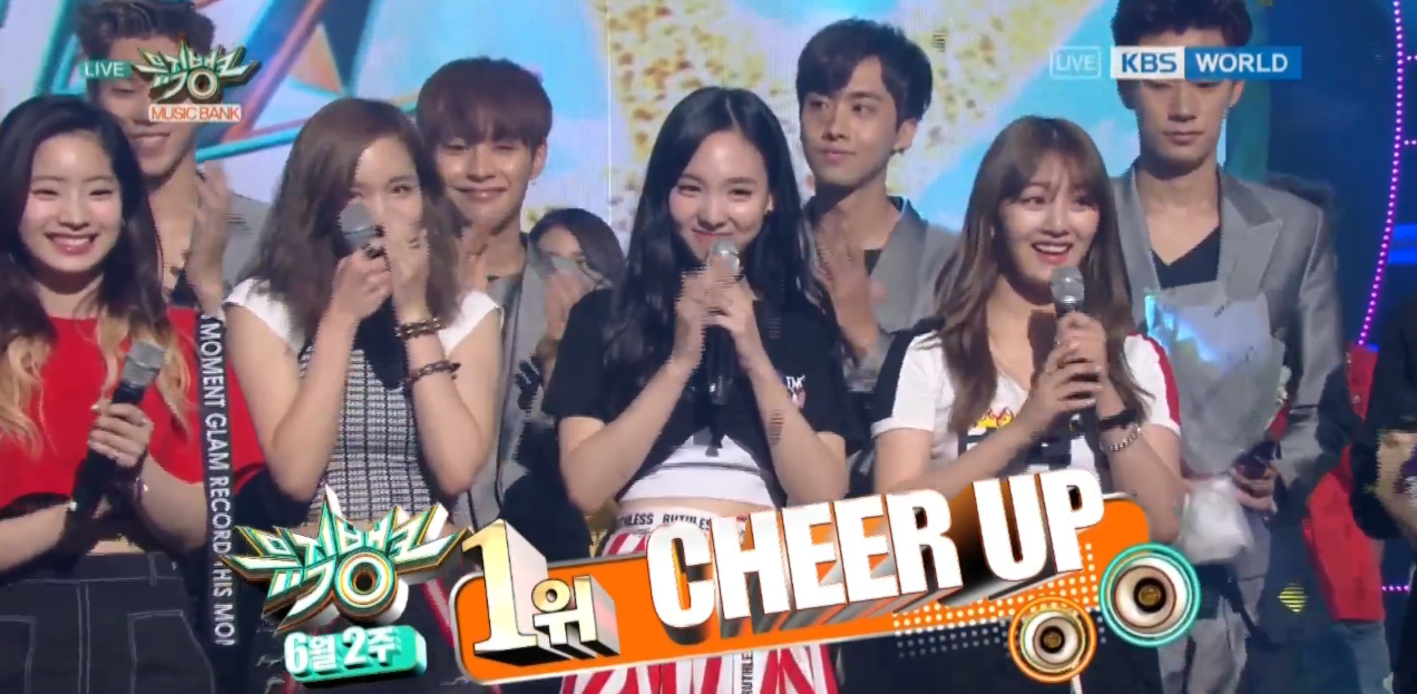 "Watch: TWICE Gets 10th Win With ""Cheer Up"" On ""Music Bank,"" Performances By EXO, EXID, And More"