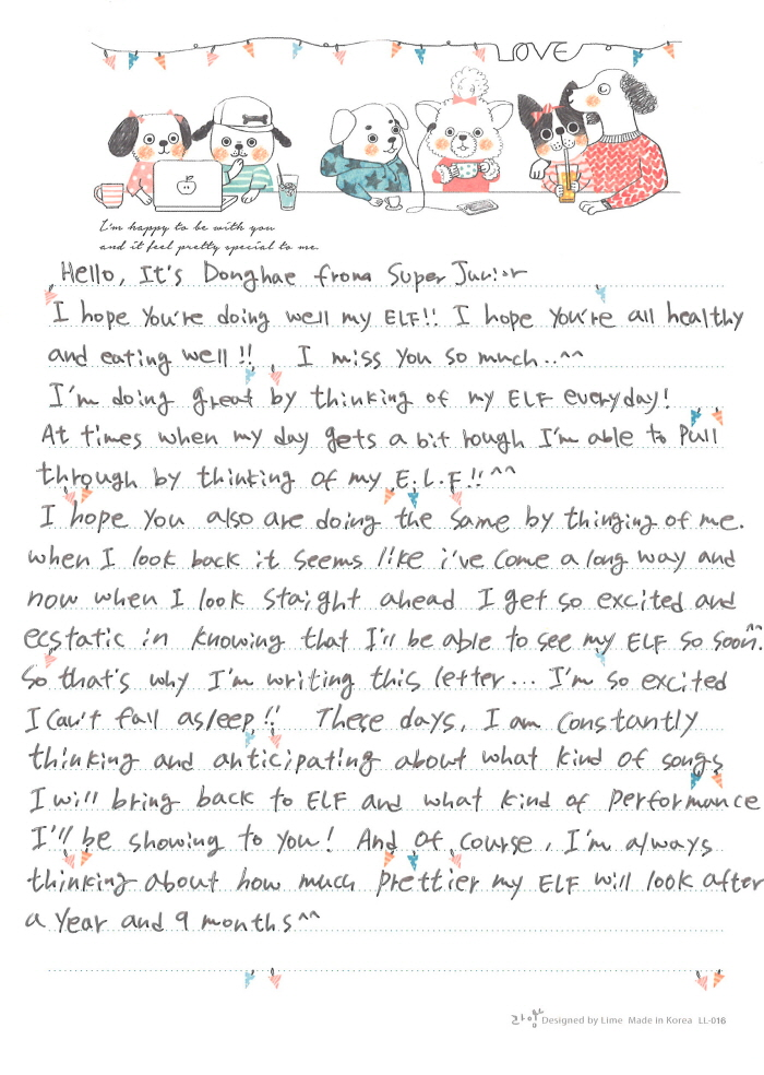 Super juniors donghae writers letters to fans in 3 different donghae english letter expocarfo Choice Image
