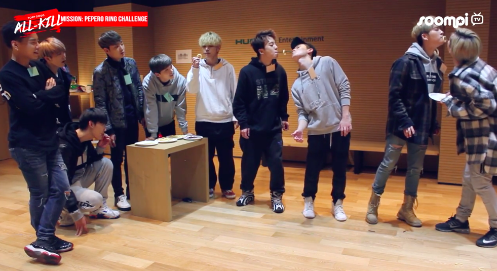 "Watch: Topp Dogg Puts Their Teamwork To The Test With Pepero Ring Challenge On ""Topp Dogg: All-Kill"""