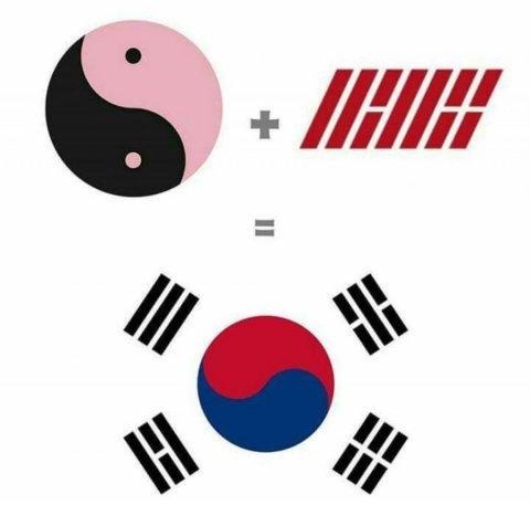 Black Pink iKON logos