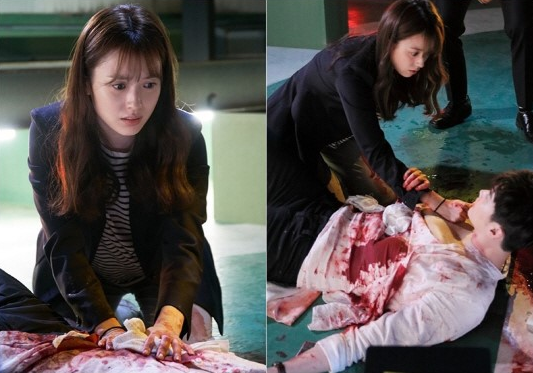 "Lee Jong Suk And Han Hyo Joo's First ""Bloody"" Meeting Raises Anticipation For ""W"""