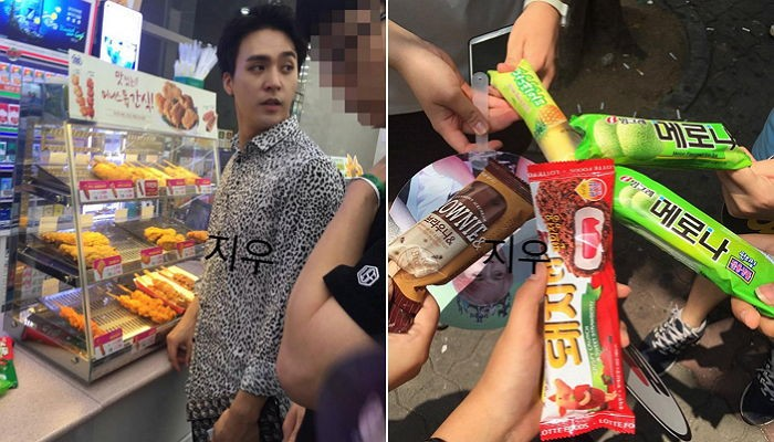 BEAST's Dongwoon Buys Ice Cream For Fans He Runs Into At Convenience Store