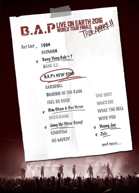 B.A.P set list