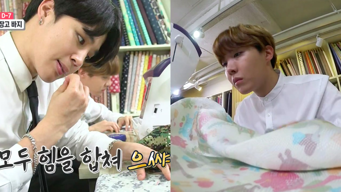 """Watch: BTS's Jimin And J-Hope Sew Up A Storm As """"Interns"""" On New Variety Show"""