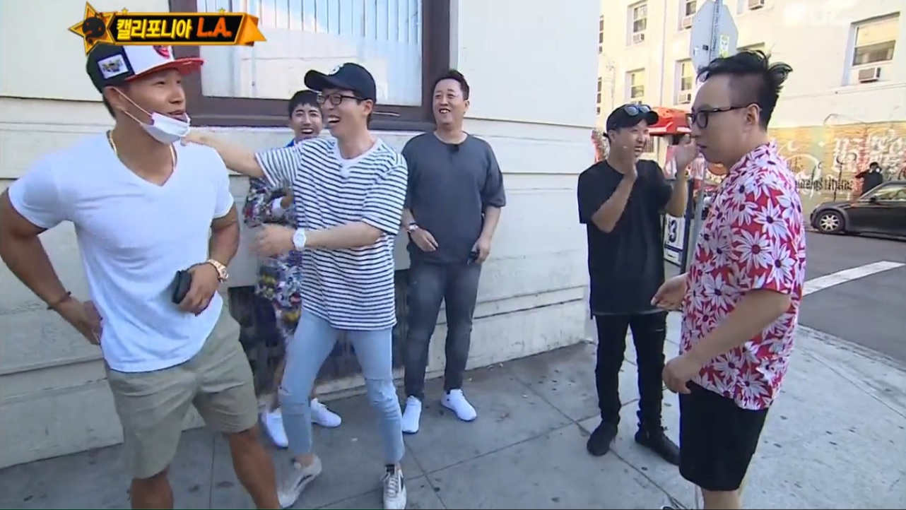 """Infinite Challenge"" Cast Coincidentally Bumps Into Kim Jong Kook In LA"