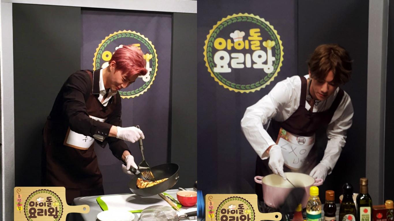"""Chefs Baekhyun And Suho Are Hard At Work In New Batch """"Idol Chef King"""" Photos"""