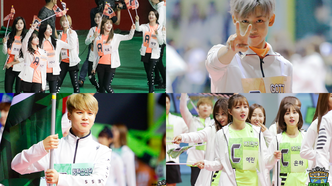 "BTS, GOT7, TWICE, GFRIEND, And More Make An Entrance In ""Idol Star Athletics Championships"" Parade Photos"
