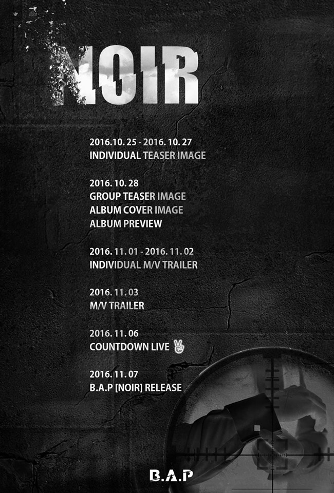 "B.A.P Confirms ""NOIR"" Comeback And Drops Schedule Poster"