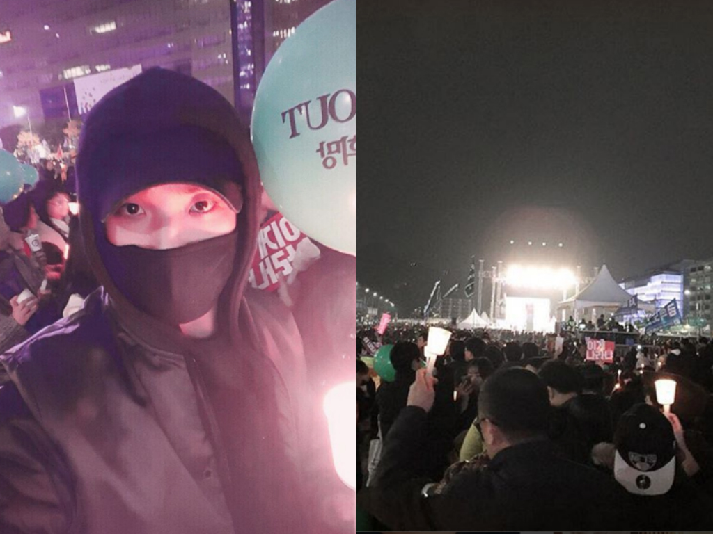 Lee Joon Takes Part In Protest Calling For President Park Geun Hye's Resignation