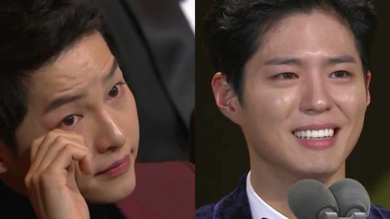 Song Joong Ki Cries During Park Bo Gum's Tearful Speech After Win At 2016 KBS Drama Awards