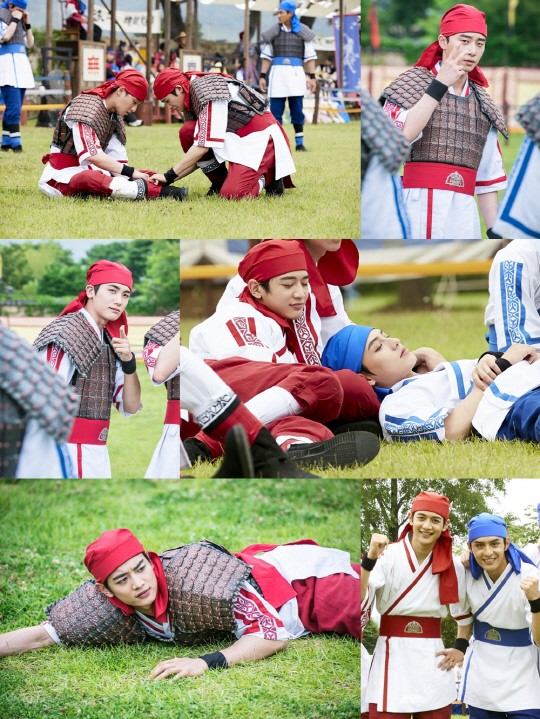 """""""Hwarang's"""" Flower Boy Cast Takes Some Time Off Behind-The-Scenes In Stills"""