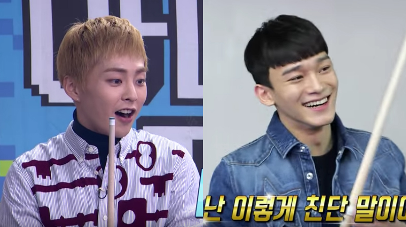 Watch: EXO's Xiumin And Chen Are Peas In A Pod When Eating, But Not While Playing Billiards In Variety Preview