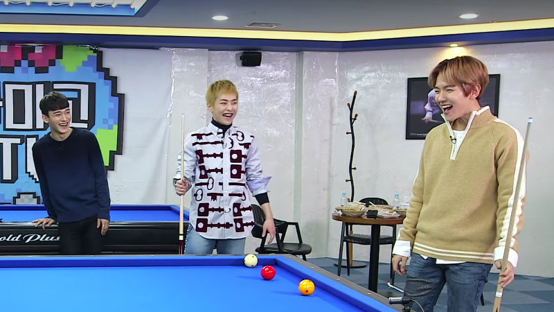 Watch: EXO-CBX Can't Stop Gushing About D.O's Billiards Skills In Variety Show Preview