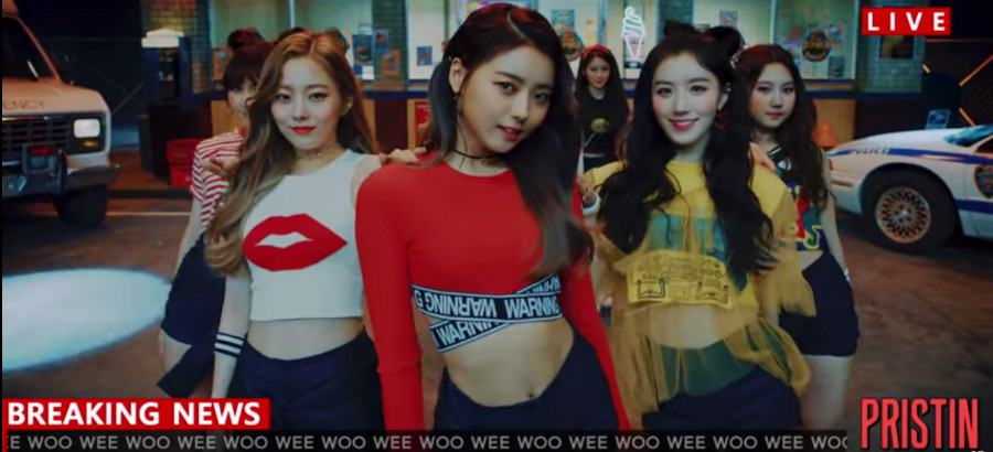 "Watch: SEVENTEEN Sister Group PRISTIN Makes Long-Awaited Debut With ""WEE WOO"""
