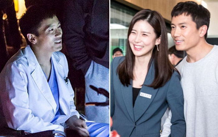 """Ji Sung Can't Stop Smiling As He Watches Lee Bo Young Act On Set Of SBS's """"Whisper"""""""