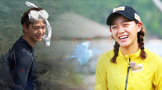 "gugudan's Kim Sejeong Rescues BTOB's Yook Sungjae In ""Law Of The Jungle"""