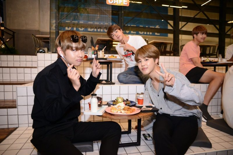BTS Visits Their Very Own Brick Live Café In Thailand