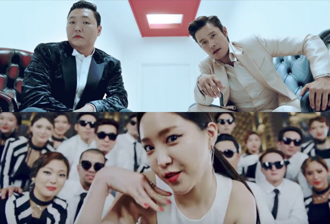 "Watch: PSY Is Back With ""I LUV IT"" + ""New Face"" MVs Featuring Lee Byung Hun And Apink's Son Naeun"
