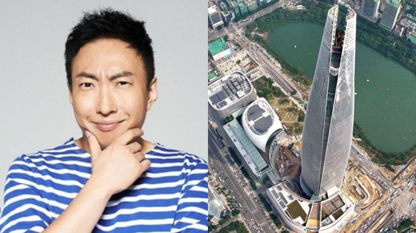 """Park Myung Soo Attempts To Clean Windows Outside 5th Tallest Building In The World For """"Infinite Challenge"""""""