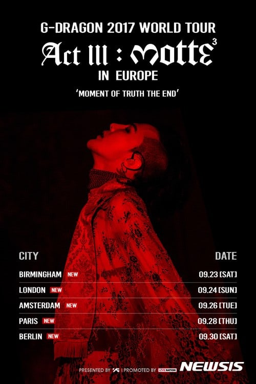 BIGBANG's G-Dragon Adds 5 European Cities To His Solo Tour