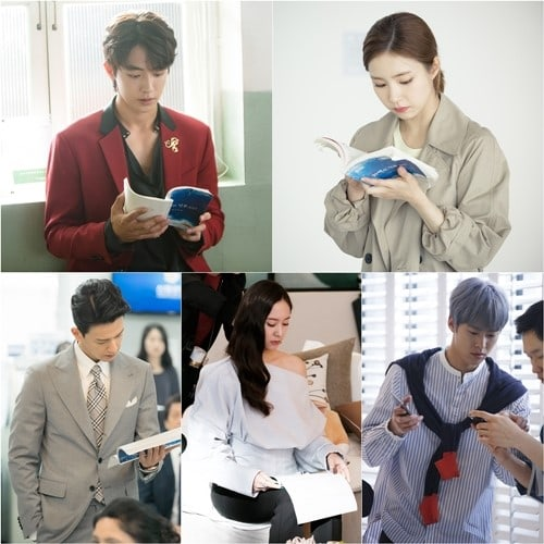 """""""Bride of the Water God"""" Cast Just Can't Keep Their Eyes Off Their Scripts In New Stills"""