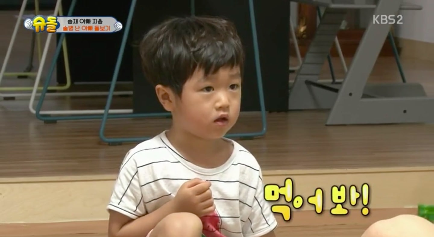 "Seungjae Comes Up With An Extreme Yet Hilarious Cure For His Hungover Father Go Ji Yong In ""The Return Of Superman"""