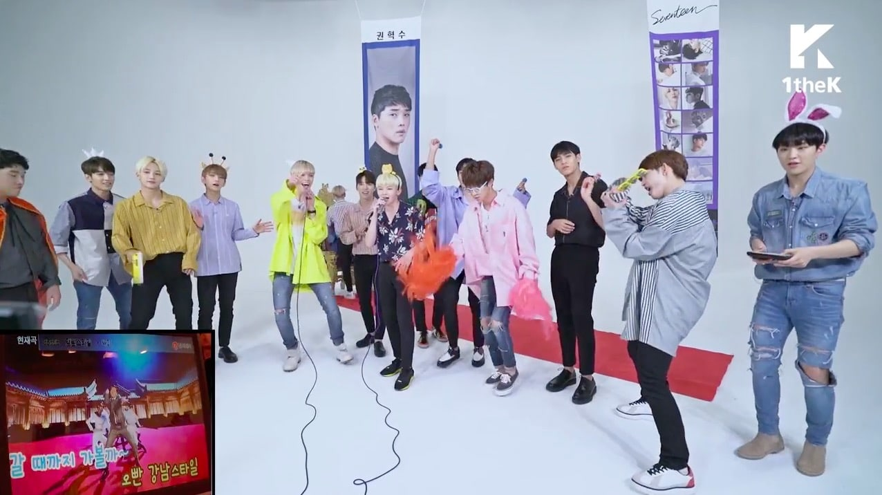 "Watch: SEVENTEEN Gets Pumped Up Singing Karaoke On ""Idol Arcade"""
