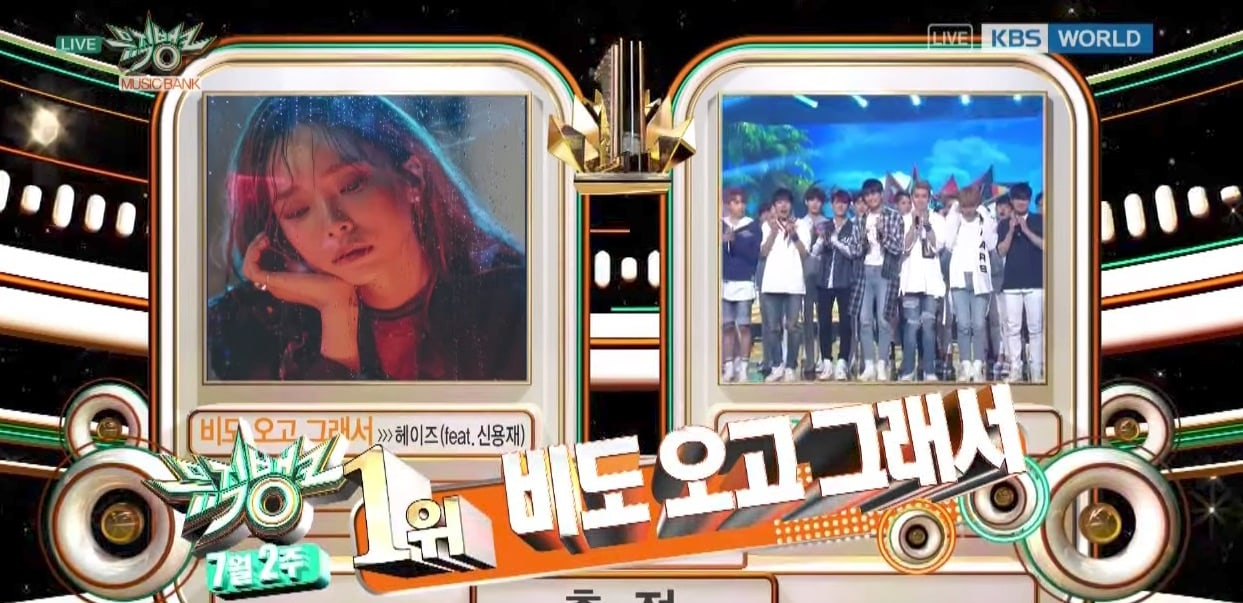 "Watch: Heize Takes 1st Win For ""You, Clouds, Rain"" On ""Music Bank,"" Performances By Red Velvet, Girls Next Door, Jessi, And More"