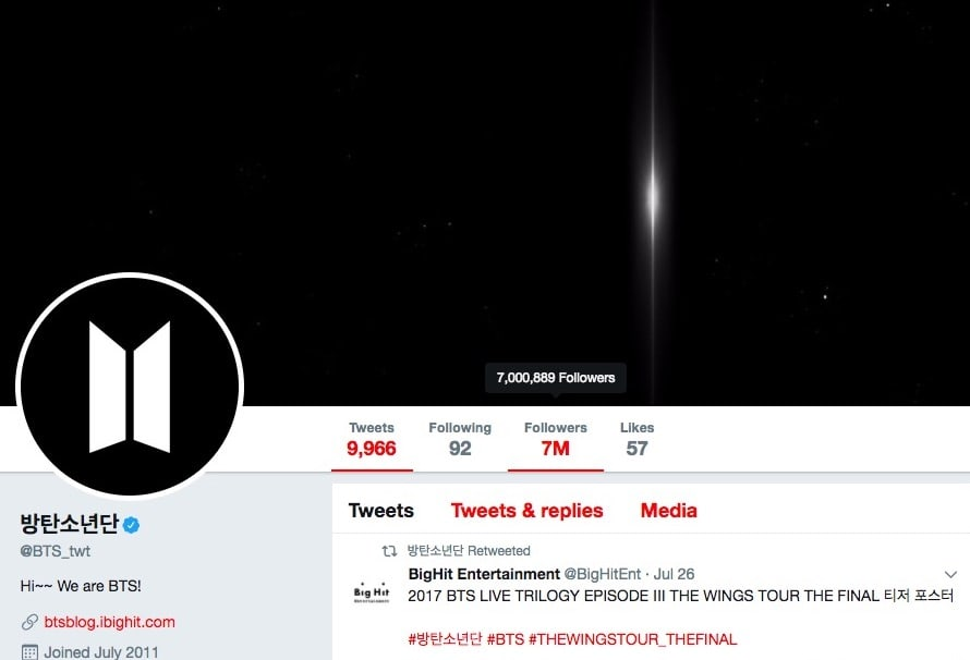 bts 7 million followers