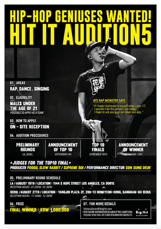 BTSs Agency Holding Open Auditions In LA To Find Next Global Star