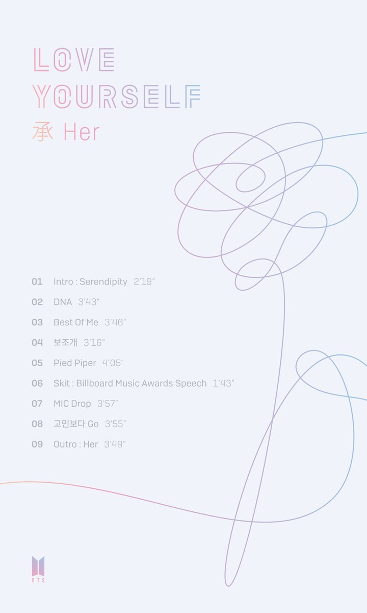 Bts Reveals Track List For Love Yourself Her Soompi