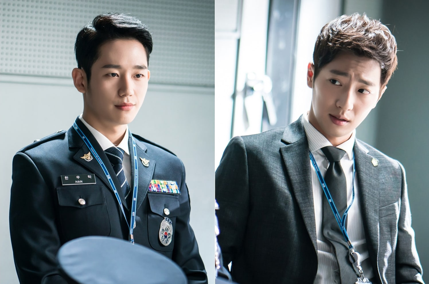 """""""While You Were Sleeping"""" Previews Jung Hae In And Lee Sang Yeob's First Official Meeting In New Stills"""