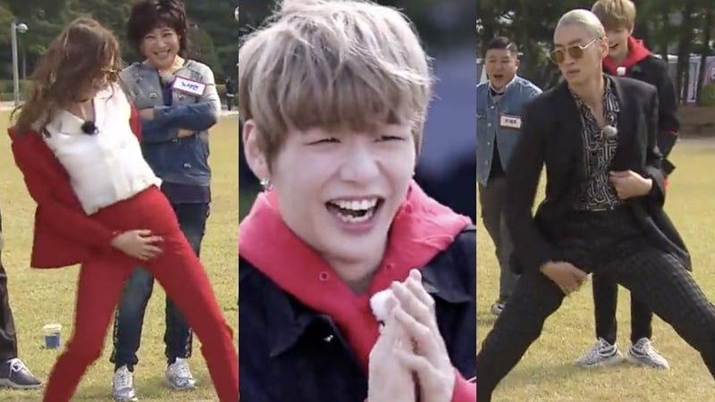 "Watch: Jun So Min And Lee Kwang Soo Attempt Kang Daniel's Famous Thigh Dance On ""Running Man"""