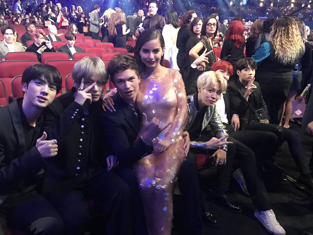 BTS And Ansel Elgort Reunite At 2017 AMAs