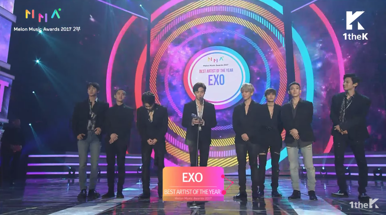 EXO Wins Best Artist Of The Year At The 2017 Melon Music Awards, Total Of Five Awards