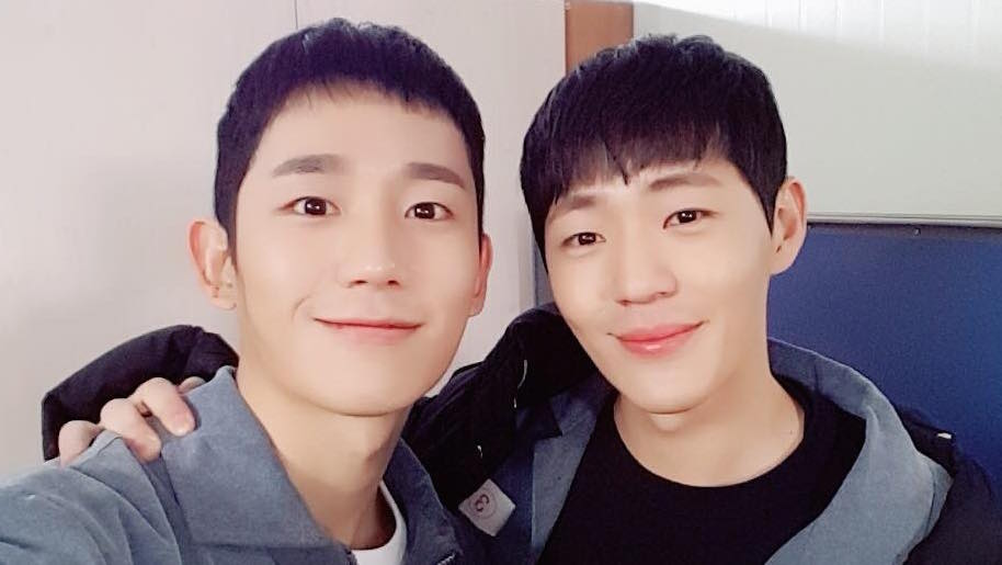 "Jung Hae In And Shin Jae Ha Reunite On Set Of ""Prison Playbook"""