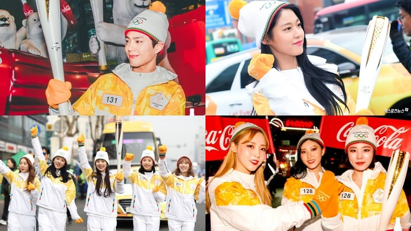 Park Bo Gum, AOA, Cosmic Girls, And MAMAMOO Light Up The Streets Of Seoul As Torchbearers For 2018 PyeongChang Olympics