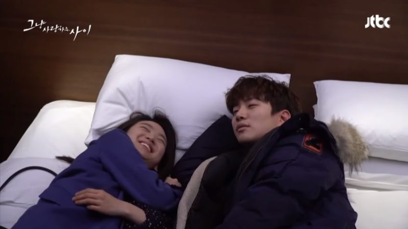 "Watch: 2PM's Junho And Won Jin Ah Are Comfy And Comical Filming Intimate Scenes For ""Just Between Lovers"""