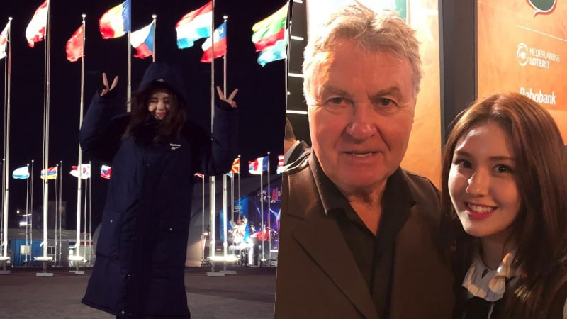 Jeon Somi Visits PyeongChang Olympics, Snaps Photo With Famed Soccer Coach Guus Hiddink