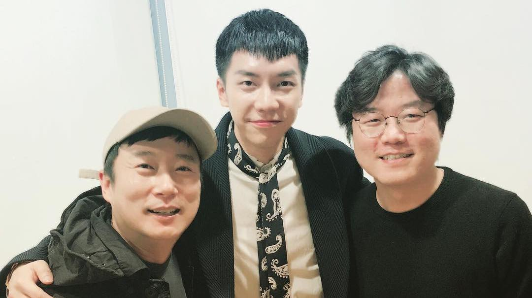 "Lee Soo Geun And PD Na Young Suk Visit Lee Seung Gi On The Set Of ""Hwayugi"""