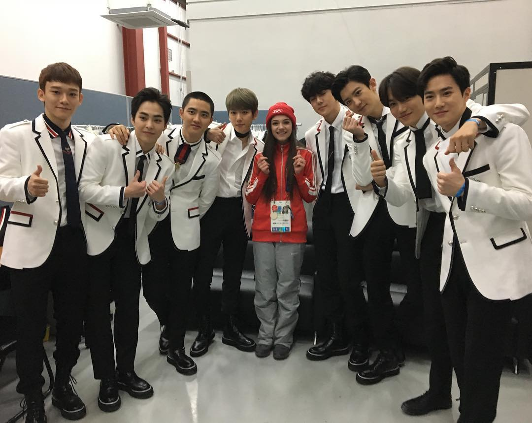 Russian Figure Skater Evgenia Medvedeva Shares Photos From Her Meeting With EXO