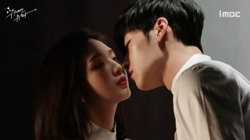 "Watch: Red Velvet's Joy And Woo Do Hwan Get Cozy For ""Tempted"" Poster Photo Shoot"