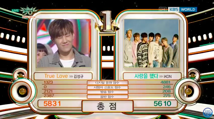 "Sunggyu Grabs 2nd Win For ""True Love"" On ""Music Bank"""