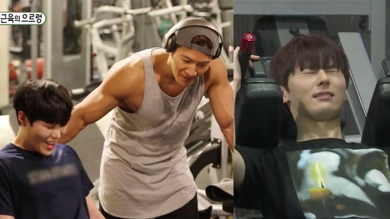Wanna One's Ha Sung Woon And Hwang Min Hyun Try An Intense Workout With Kim Jong Kook