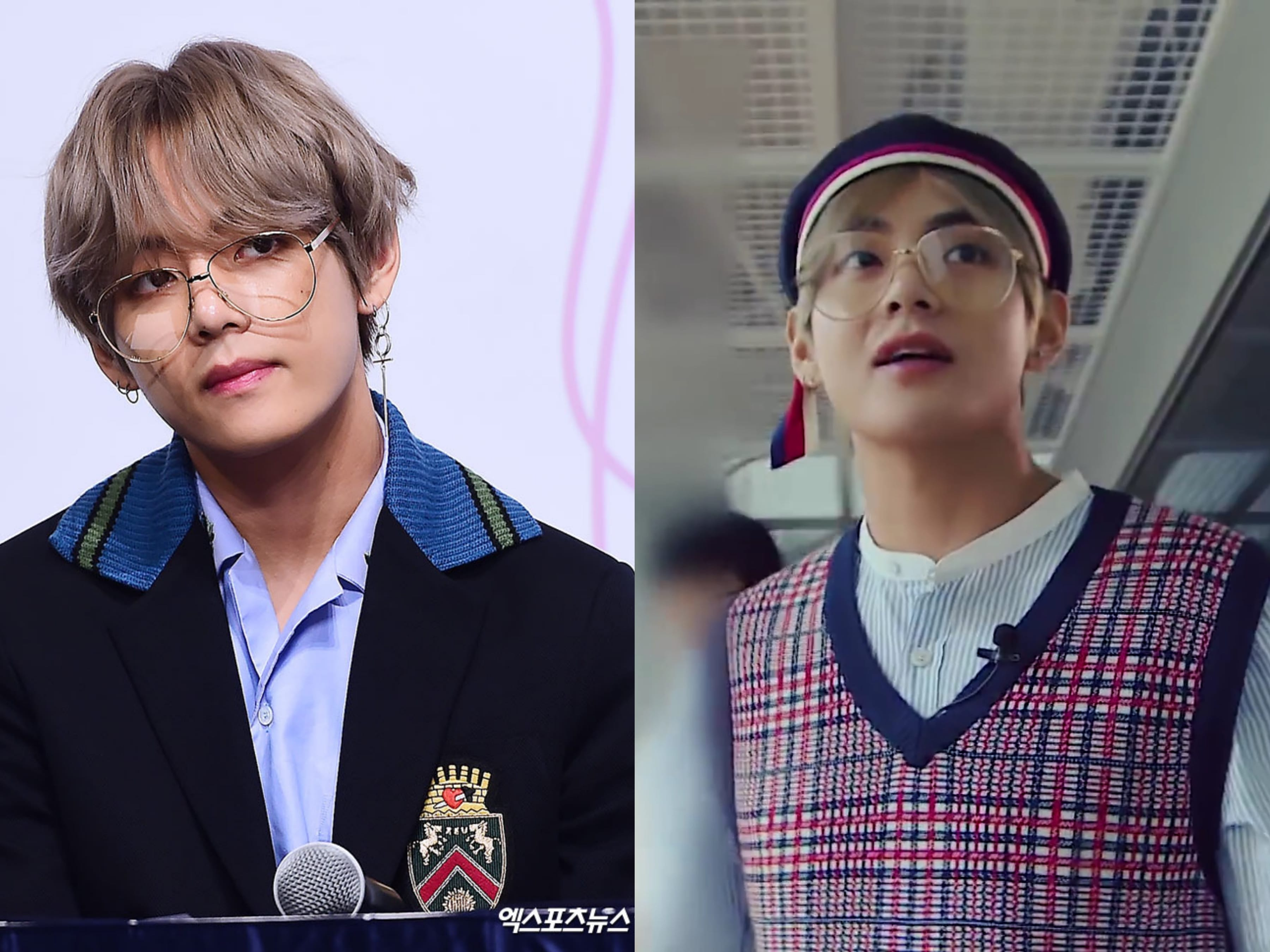 94e2e80534a4a3 ... eyeglasses are signature items that V wears for a refined look that is  a mix of both street and preppy. It also goes well with his boyish charm  and ...