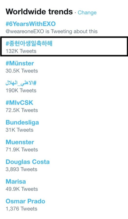 SHINee's Jonghyun Becomes Trending Topic On Twitter As Fans