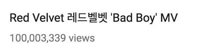 Znalezione obrazy dla zapytania red velvet's bad boy becomes their 3rd mv to reach 100 million views